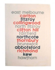 Tea Towel 50x70cm Linen/Cotton East Melbourne to Hawthorn