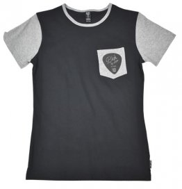 Unisex T-Shirt Black/Grey Sleeves Blak by Lumbi Guitar Pocket