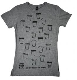 Blak Winter Stripe T-Shirt with Coffee Cups
