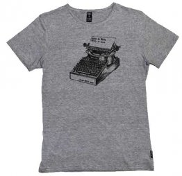 Blak Winter Stripe T-Shirt  Live to Write Typewriter