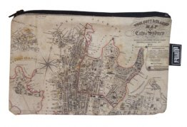 Pencil Case 18x10cm Woolcot and Clarke Map