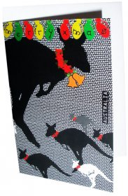 Greeting Card A6 Merry Xmas Kangaroo Dots