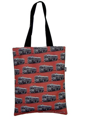 Tote Bag 40x33cm Trams Red