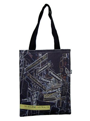 Tote Bag 40x33cm Melbourne Signs Black Neon