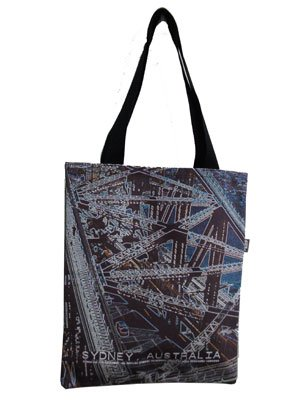 Tote Bag 40x33cm Retro Bridge on Blue