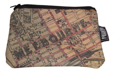Ipod / Coin Case 13x9cm Whiteheads 1887 Map of Melbourne