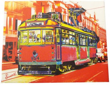 Art Canvas 20x25cm Chapel St Tram Red