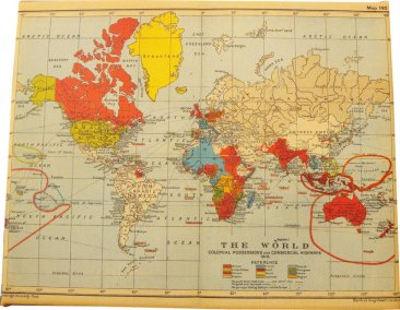 20x25cm : Canvas Art 20x25cm World Map 1910 on