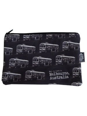 Pencil Case 18x10cm Trams Black