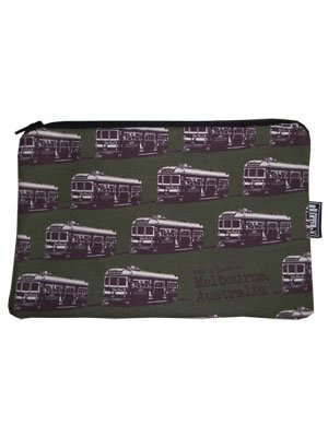 Pencil Case 18x10cm Trams Green