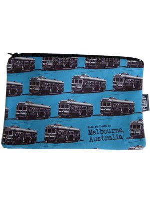 Pencil Case 18x10cm Trams Blue