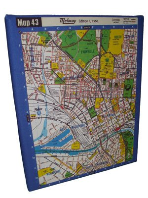 Art Canvas Small 20x25 Melway Maps Natural for most suburbs