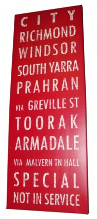 Canvas Art 45x120cm Tram Bus Destination Scroll Banner Vintage Red