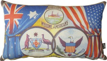 Cushion 50x30cm Australians welcome Americans 1908