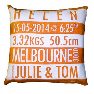 Cushion Personalised Birth Orange