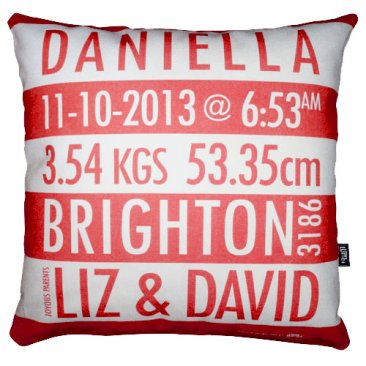 Cushion Personalised Birth Red