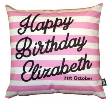 Cushion Personalised Birthday Stripes Pink