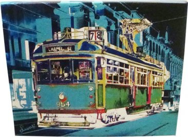 Canvas Art 20x25cm Chapel St Tram Blue