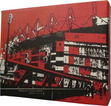 Canvas Art 20x25 Melbourne Cricket Ground Red