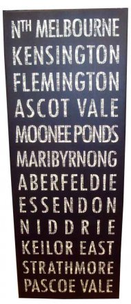 Canvas Art 45x120cm North Melbourne to Pascoe Vale Tram Bus Scroll Vintage Black