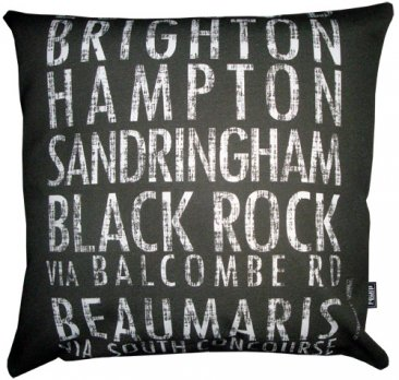 Cushion Destination Scroll Elwood to Beaumaris Vintage (Various Colours)