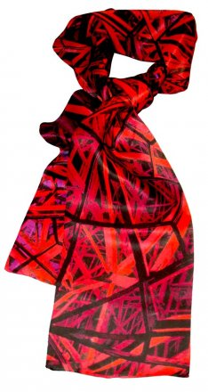Silk Scarf 150x16cm Federation Square Red