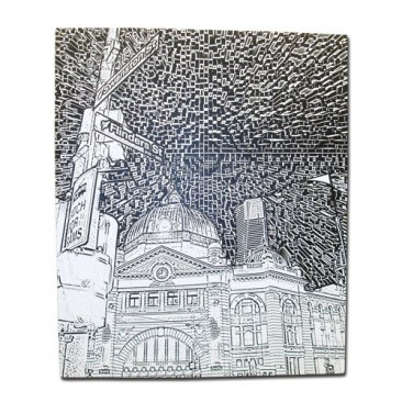 Canvas Art 50x60cm Flinders Street Etchings