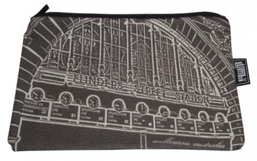 Pencil Case 18x10cm Flinders Street Clocks Black