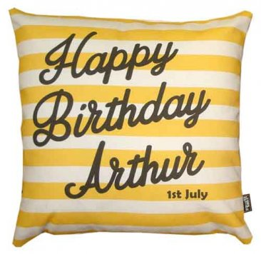 Cushion Personalised Birthday Stripes Yellow