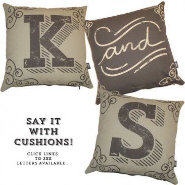 Cushion Hipster Grey & Black Letters