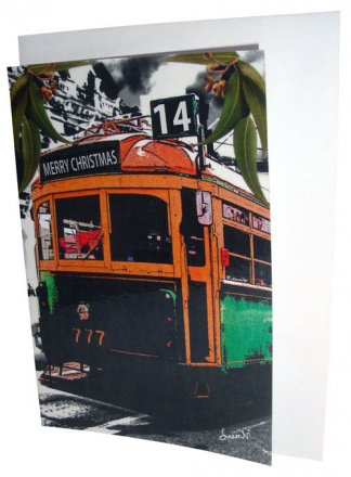 Greeting Card A6 Lucky Tram Merry Christmas 2014
