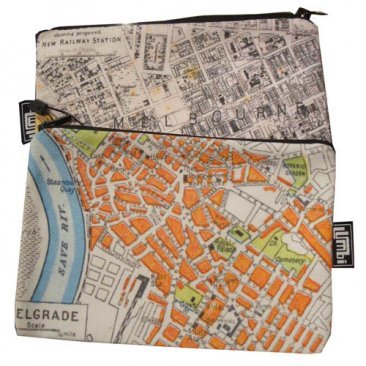 My Two Worlds Pencil Case 18x10cm Melbourne & Belgrade Maps