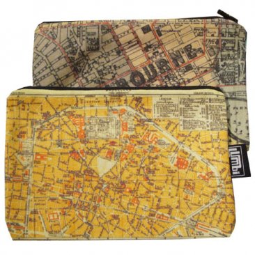 My Two Worlds Pencil Case 18x10cm Melbourne & Brussels Maps