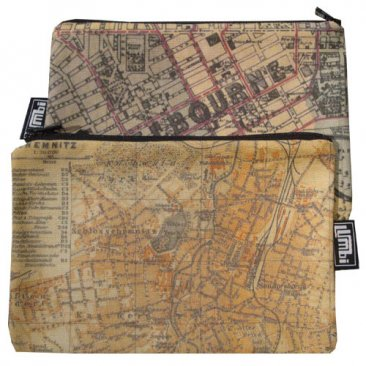 My Two Worlds Pencil Case 18x10cm Melbourne & Chemnitz Maps