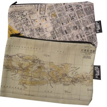 My Two Worlds Pencil Case 18x10cm Melbourne & Crete Maps