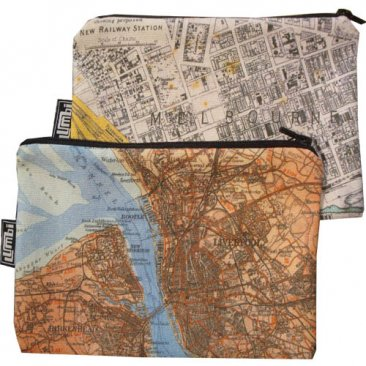 My Two Worlds Pencil Case 18x10cm Melbourne & Liverpool Maps