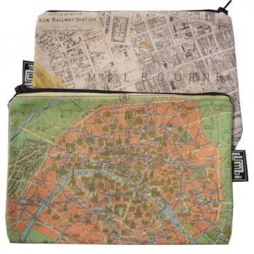 My Two Worlds Pencil Case 18x10cm Melbourne & Paris Maps