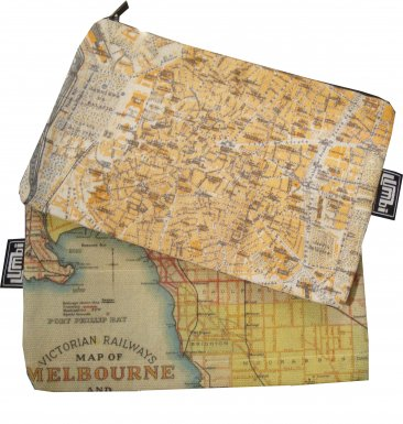 My Two Worlds Pencil Case 18x10cm Melbourne & Madrid Maps