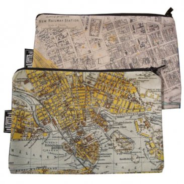 My Two Worlds Pencil Case 18x10cm Melbourne & Stockholm White Maps