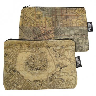 My Two Worlds Pencil Case 18x10cm Melbourne & Vienna Maps