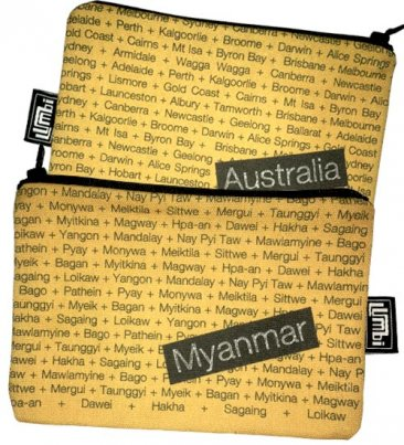 My Two Worlds Pencil Case 18x10cm Australia & Myanmar