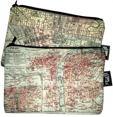 My Two Worlds Pencil Case 18x10cm Melbourne & Prague Maps