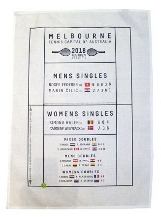 Tea Towel 50x70cm Tennis Capital 2018 Game Winners