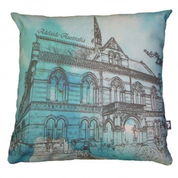 Cushion Mitchell Building Adelaide Watercolour Green