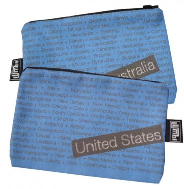 My Two Worlds Pencil Case 18x10cm Australia & United States