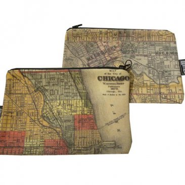 My Two Worlds Pencil Case 18x10cm Melbourne & Chicago Maps