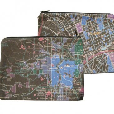 My Two Worlds Pencil Case 18x10cm Melbourne & Denver Maps