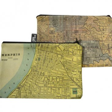 My Two Worlds Pencil Case 18x10cm Melbourne & Memphis Maps