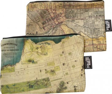 My Two Worlds Pencil Case 18x10cm Melbourne & San Francisco Maps