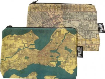 My Two Worlds Pencil Case 18x10cm Melbourne & Seattle Maps